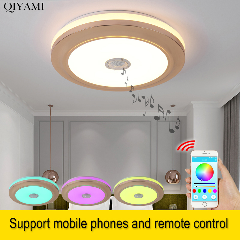 42 Modern Bluetooth Ceiling Fan Light Remote Music: Modern LED Ceiling Lights With Bluetooth Speaker For