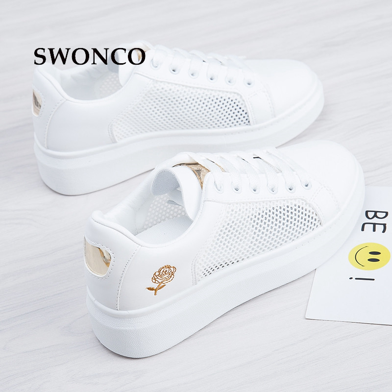 SWONCO Women's Vulcanize Shoes 2018 Spring Hollow Out White Shoe Sneakers Summer Shoes Women Sneakers Flower Female Shoe new women s vulcanize shoes spring summer slip on sneakers black casual shoes women breathable hollow out woman sneakers