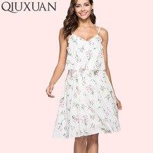 QIUXUAN Summer Floral Print Sleeve Women Cami Dress Fashion Frill Trim Layered Midi Dress Plunge Neck