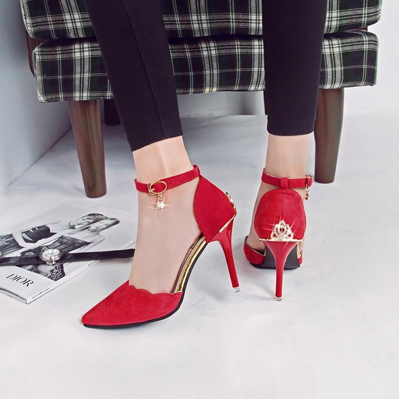 Femmes Hauts Bout Noir rouge À Filles vert Talons Mode Métal Princesse Sexy Pointu 2017 Chaussures G102 Nouveau Pompes Strass gris Décoration En dYpqyI