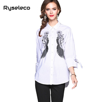 Ryseleco Women Tops Blouse Vintage Embroidery Shirts Turn Down Collar Cotton Linen Lady Fashion Loose Casual