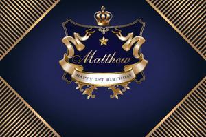 Image 1 - Personalizado coroa príncipe preto e ouro marinha listrado aniversário pano de fundo alta qualidade impressão computador festa