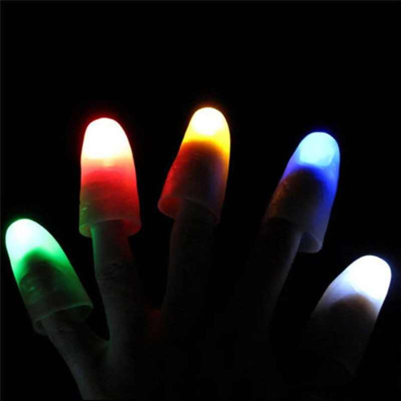 2 sztuk/zestaw Halloween LED zapalają palec kciuki światła wielokolorowy magiczne rekwizyty Party Bar pokaż lampy świecące palce
