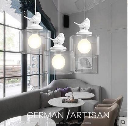 LED criativo restaurante café bar sala de crianças de aves 31 w 40 w droplight única cabeça de vidro 110 v 240 v