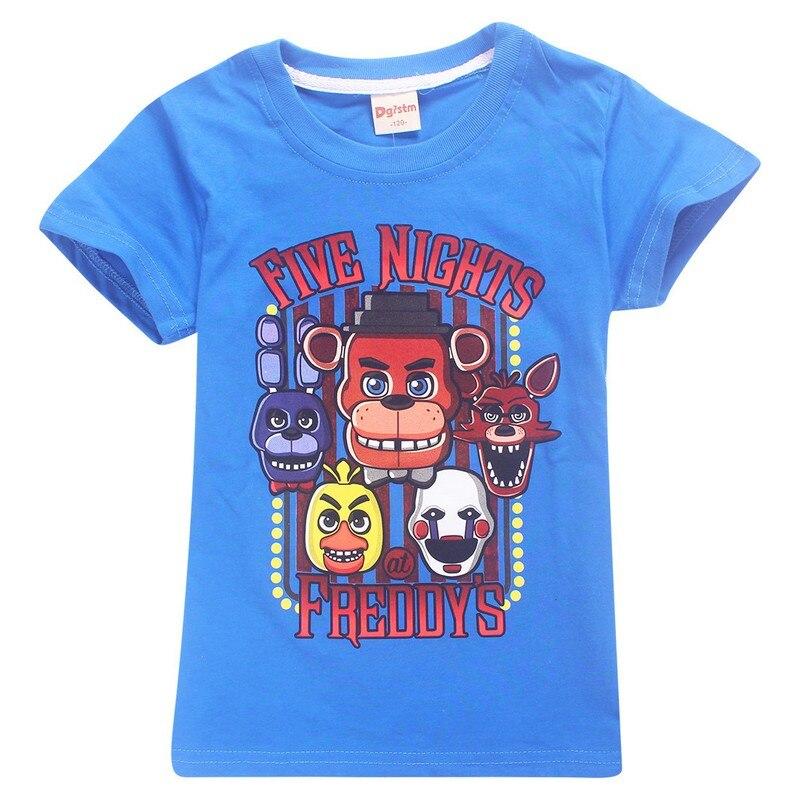 2018 для мальчиков пять ночей в Фредди футболка Детская летняя одежда с рисунком из мультиков для девочек хлопковая Футболка для малышей, 10 Цв...