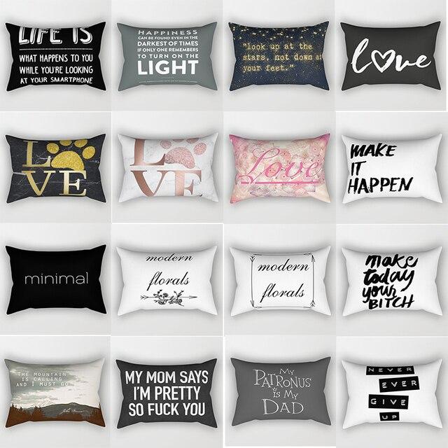 Doppi lati inglese lettera modello federe rettangolo camera da letto cuscino cas