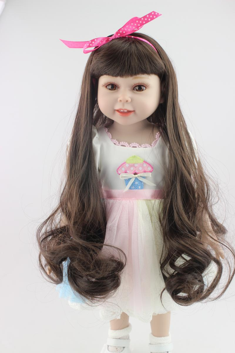 18 45cm Long Hair Full Vinyl American Girl Doll Baby Alive Boneca Best Gifts for Girls Birthday Gift Early Educational Toy [mmmaww] christmas costume clothes for 18 45cm american girl doll santa sets with hat for alexander doll baby girl gift toy