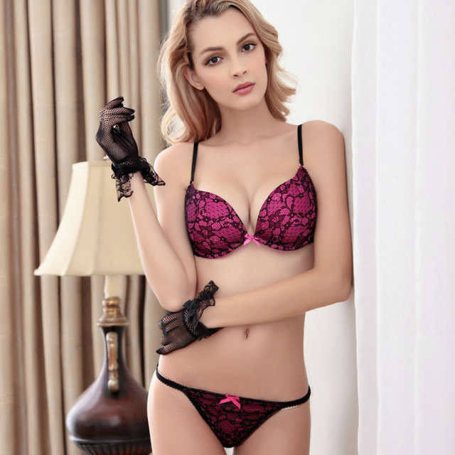 d6ff57b084d1b Deep V Lace Cup Surface Push Up Sexy Bra Set Matching Bow Decorating G- string