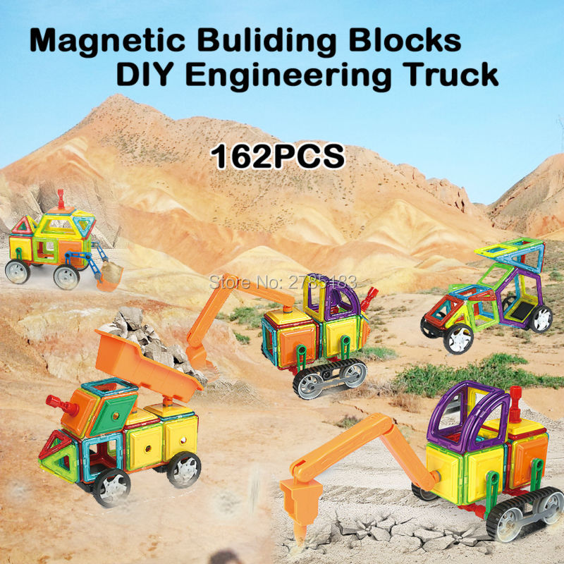 Magnetic Designer  Assemble Building Tiles DIY Blocks Bricks Construction Engineering Truck Series Educational Toys Set - 162PCS banbao 8531 construction engineering