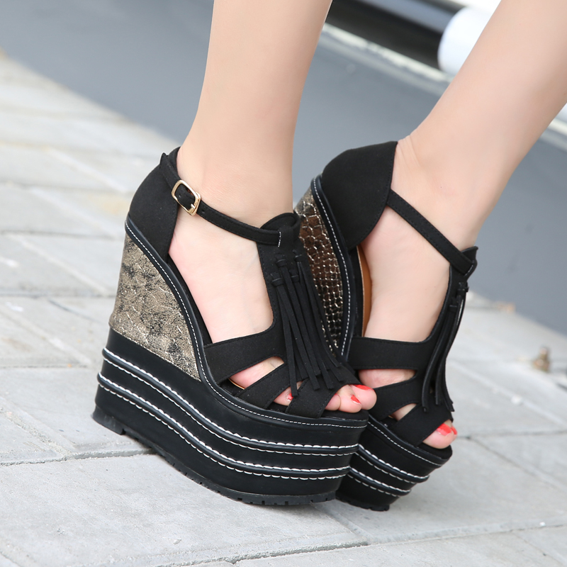 32-39 Women's Wedges Sandals Platform 16cm Super High Heels Fringe Strap Woman Sandals For Ladies Summer Shoes Gladiator 2017 phyanic 2017 gladiator sandals gold silver shoes woman summer platform wedges glitters creepers casual women shoes phy3323