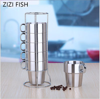 Double stainless steel cup with a handle anti scald Coffee beer tea cup Mug Set caneca Drain storage rack 7 sets caneca