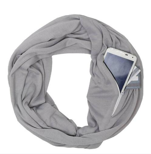 Men and women couples autumn and winter solid color warm scarf zipper storage convenience collar(China)