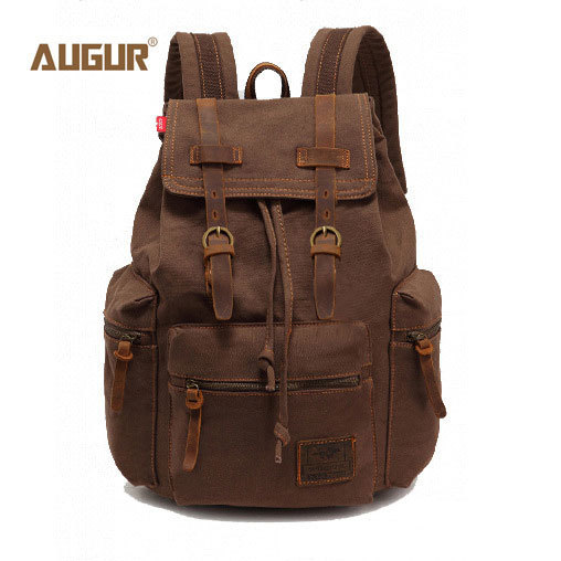 2017 augur nuevos hombres de la manera mochila de la lona de la vendimia del bolso de escuela del morral de los hombres bolsas de viaje de gran capacidad mochila de viaje bolsa