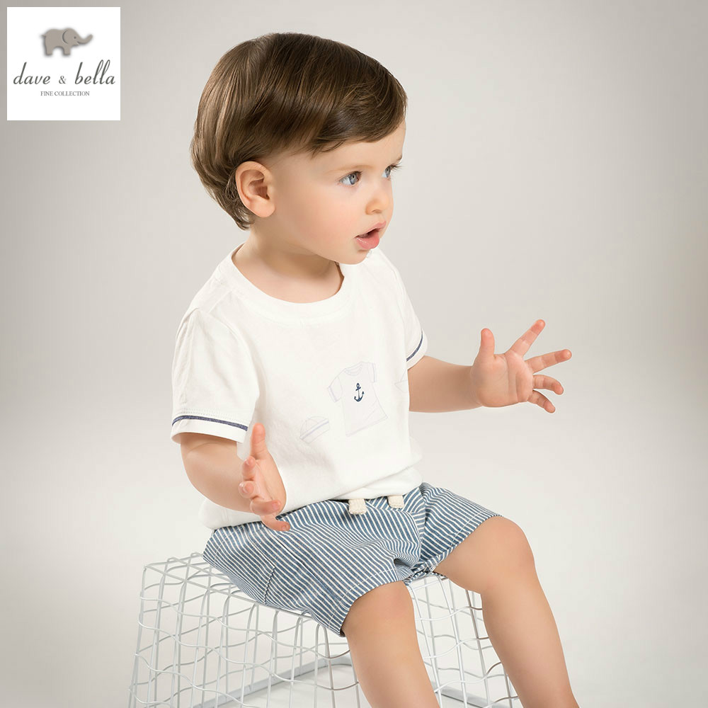 DB5184 dave bella summer baby boys clothing sets white top striped shorts child set infant clothes kids sets baby costumes flamingo embroidered striped top and curved hem shorts set