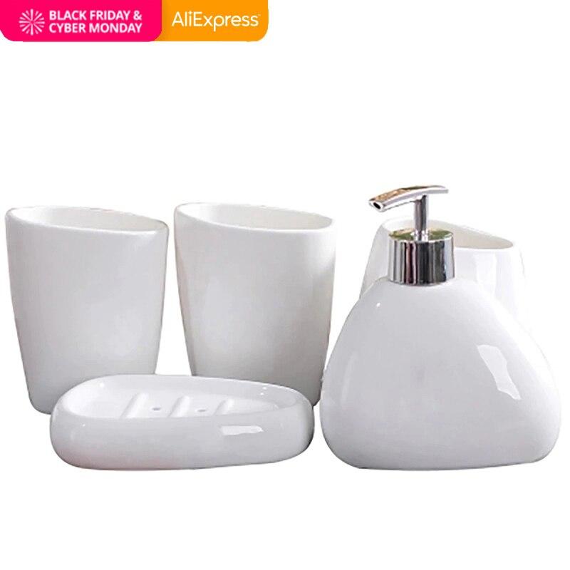 ORENBO Simple dumb white ceramic Bathroom Accessories Set of bathroom six sets of wash sets bathroom suite Ceramic wash supplies
