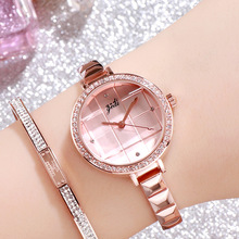 2008 new fashion luxury rose gold temperament watch female Plaid creative bracelet student waterproof