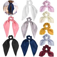 Satin Scarf Hair Scrunchies, Funtopia 10Pcs Ribbon Bow Scrunchies with Solid Colors