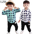 LZH 2017 Spring Autumn Toddler Baby Boys Clothes Sets Kids Clothes Long Sleeve Plaid Shirt + Pants Outfit Suit Children Clothing