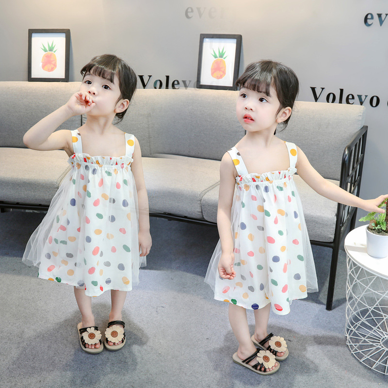 Cute polka dots pretty lace two layers high quality children girl boutique dresses in Dresses from Mother Kids