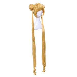 Image 2 - L email wig Sailor Moon Cosplay Wigs Super Long Blonde Wigs with Buns Heat Resistant Synthetic Hair Cosplay Wig Halloween