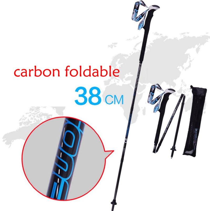 Foldable Ski Skiing Snowboarding Poles Crutch Trekking Pole Carbon Fiber Climbing Hiking Trekking Sticks Walking Pole