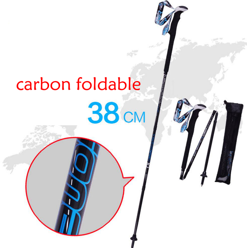 Foldable Ski Skiing Snowboarding Poles Crutch Trekking Pole Carbon Fiber Climbing Hiking Trekking Sticks Walking Pole Alpenstock