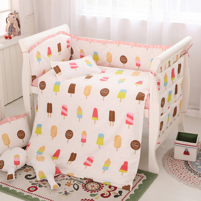 Bedding Set Baby Girl,New Baby Bedding Set 6pcs Cotton Pink Mattress,Breathable Baby Crib Bumper,Baby Bedding Quilt,Sabanas Cuna