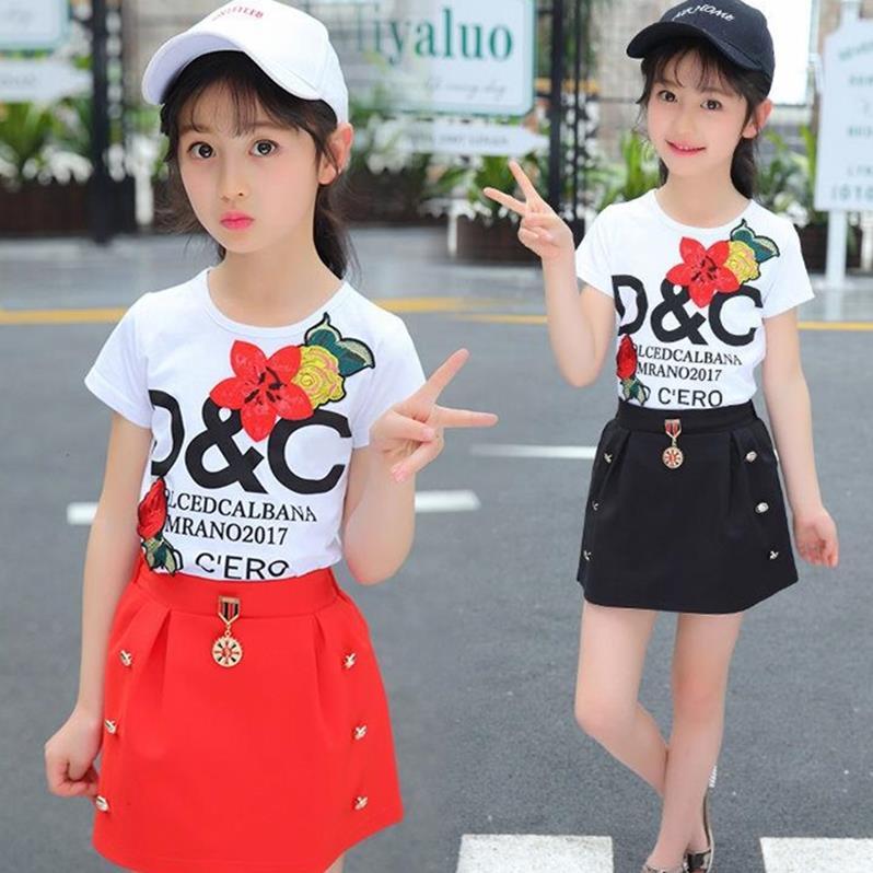 Bebê meninas roupas de verão crianças conjuntos menina applique t-shirts + calças curtas terno adorável roupas da menina do bebê presente aniversário