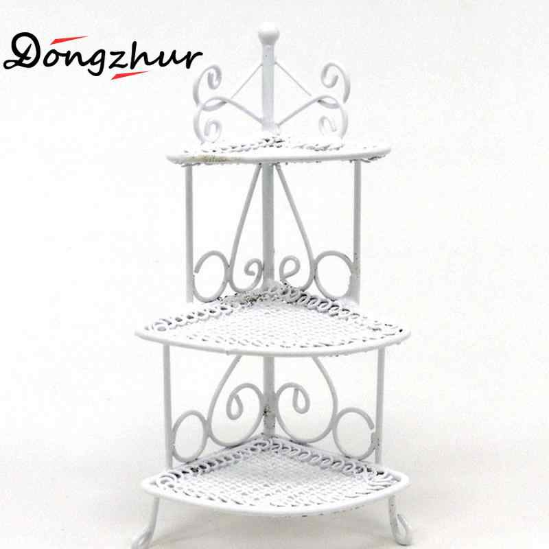 1/12 Iron Art Miniature Mini Triangle Flower Stand Kids Toys Furniture White 97*36mm For Children Dollhouses Model Accessories