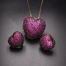 Boucles doreilles en zircone multicolore, pavé en forme de cœur, pendentifs, ensembles de bijoux à la mode, breloques de fête, pour femmes