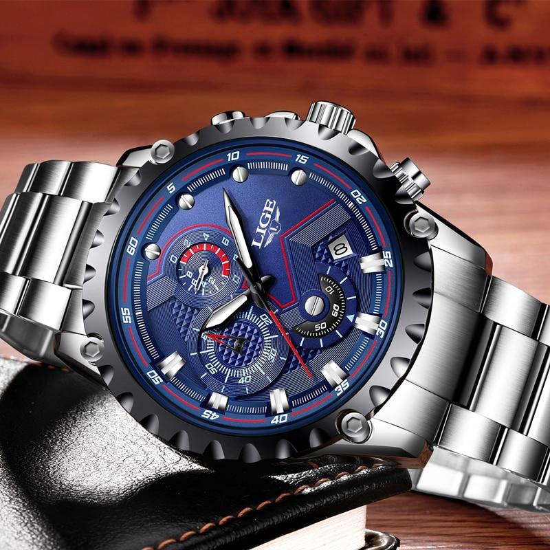 LIGE Watch Men Brand Luxury Full Steel Military Watches Men Quartz Clock Man Business Watch Sport