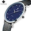 WWOOR Brand Men's Watch Men Ultra Thin Waterproof Genuine Leather Wristwatch Male Clock Casual Sports Watches relogio masculino