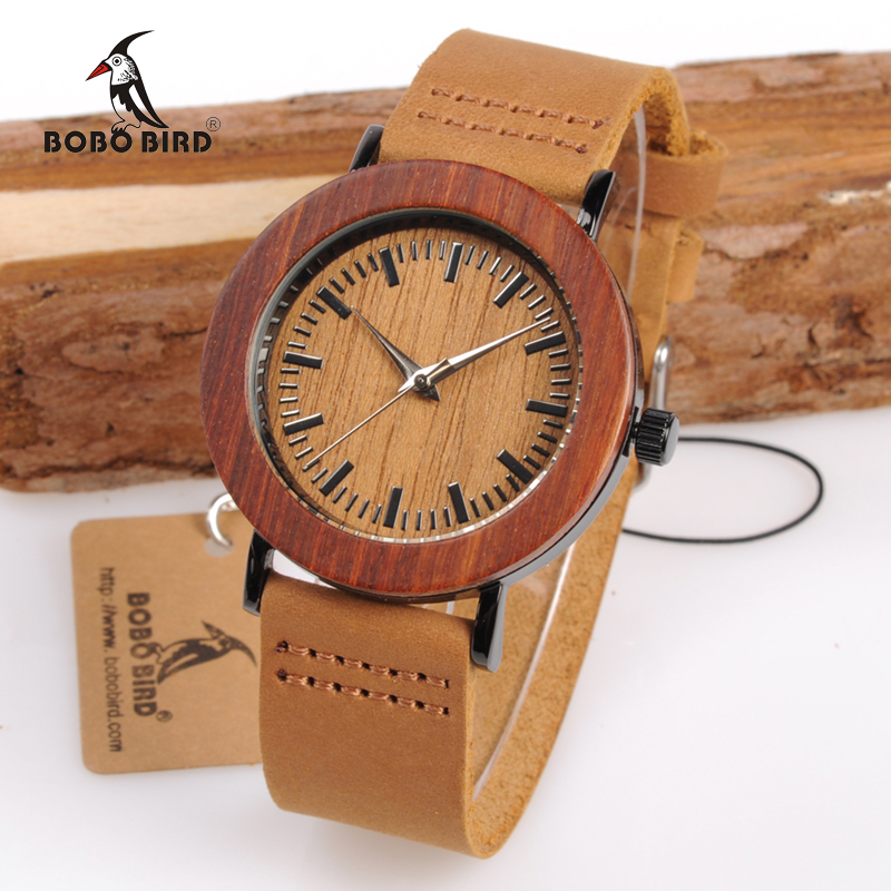 BOBO BIRD WK20 Red Sandalwood Steel Watch Retro Wood Dial Brown Soft Leather Band Montre Femme