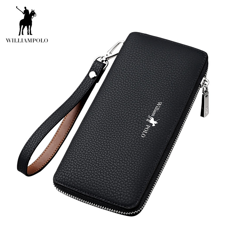 Williampolo fashion brand men wallets split leather long zipper clutch purse business male phone wallet feidikabolo brand zipper men wallets with phone bag pu leather clutch wallet large capacity casual long business men s wallets