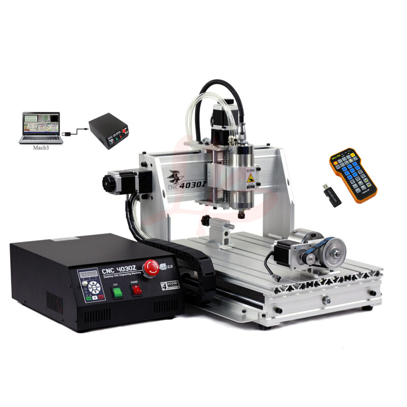 4 axis small wood milling machine 3040 800w diy cnc machine with mach3 remote control for hobby