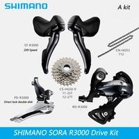 SHIMANO SORA R3000 2x9 18S Speed Road Bike Derailleur Kit Bike Transmission Kit Bike Parts Gearbox Kit Free Shipping