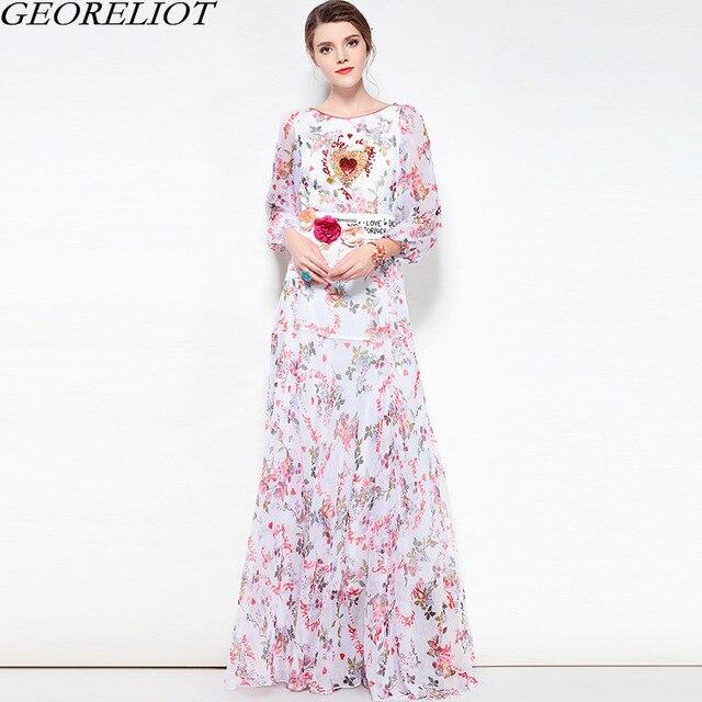 8b40f54f0a30 Floral Long Chiffon Maxi Dress 2018 New Summer Women Brand Fashion Runway  Beading O-Neck Ball Gown Bohemian Beach Dress Vestidos