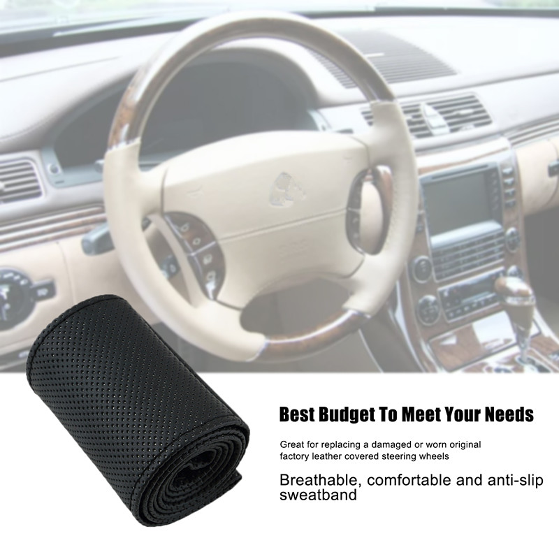 New 36-38cm Car-styling Car Steering Wheel Cover Braid on the Steering Wheel Microfiber Skid-Proof Cover Entire Single Connector universal car steering wheel cover 38cm 3d car styling handlebar braid covers sport breathable skid proof car accessories