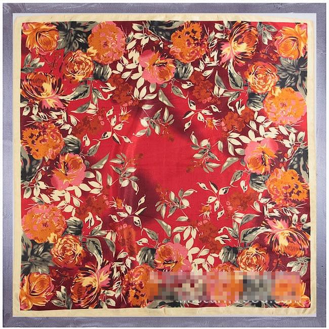 Flash Sale 90*90cm Square Silk Scarf Women Big Size Leaves And Flowers High Quality Brand Shawl Hijab Ladies Scarves Wraps