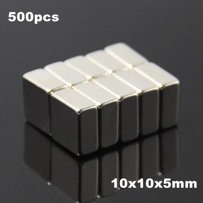 500pcs F10x10x5mm Super Powerful Strong Rare Earth Block NdFeB Magnet Neodymium N35 Magnets F10*10*5mm- Free Shipping(China)