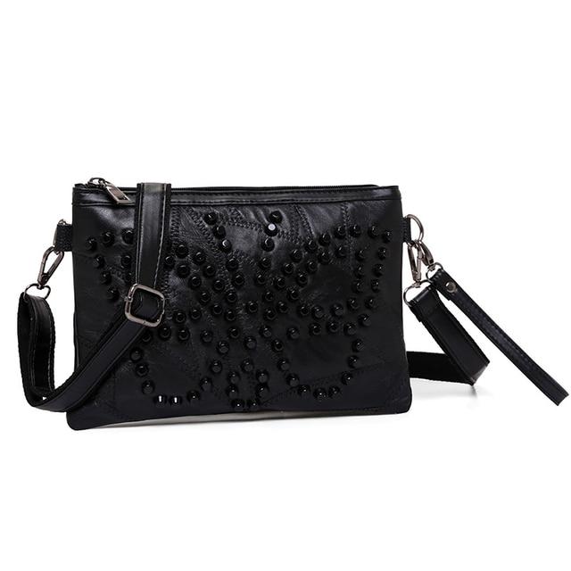 Diamond Genuine Leather Women Messenger Bag Zipper Small Crossbody Bag Women Vintage Clutch Bag Ladies Purse For Women Black