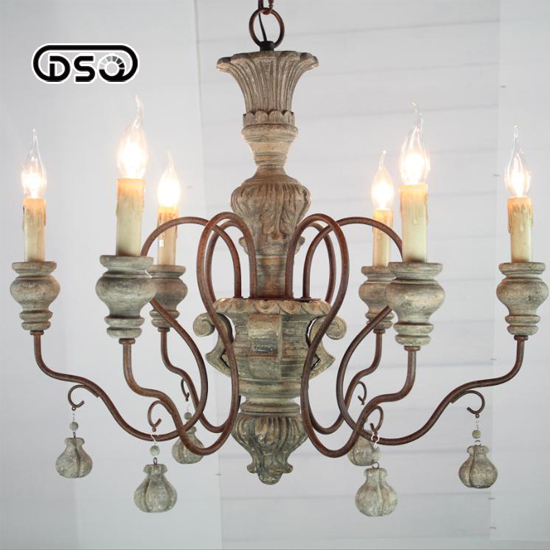 Vintage Amercian Rustic Wooden Chandelier Lamp Living Hotel And Bedroom Light