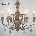 Vintage Amercian Rustic Wooden Chandelier Lamp Living Hotel and Bedroom Light Fixture Chandeliers