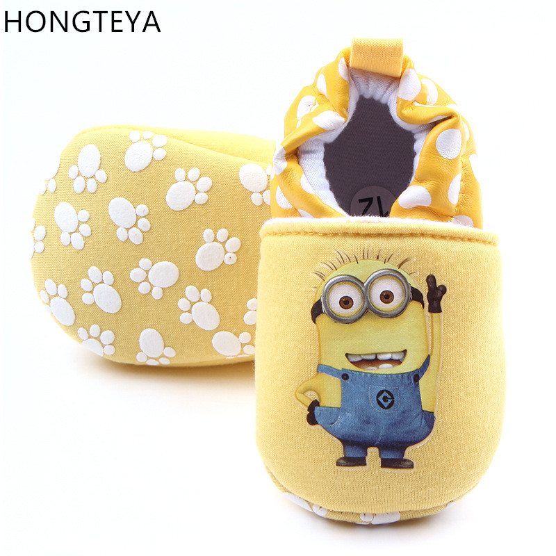 Hongteya Cute Cartoon Toddler Baby Moccasins First Walkers Baby Shoes Round Toe Flats Soft Slippers Shoes I Love MOM/DAD 0-1 Y