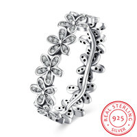 New Flower Shape Sterling Silver Ring With Cz Romantic Wedding Ring Dazzling Daisy Chain Ladies And Girls Love Anel