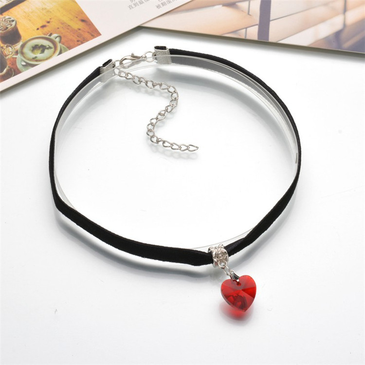 HTB1hqWyQFXXXXXsaFXXq6xXFXXXw - New Fashion Woman Velvet Choker Heart Crystal Pendant Necklaces For Women Jewelry Female Black Ribbon Necklace Party Gift Collar