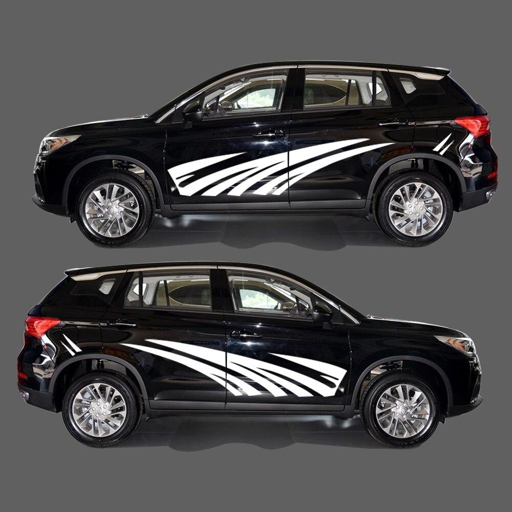 2018 nouvelle personnalité PVC autocollant voiture style Auto partie bandes autocollants voiture carrosserie décalque pour Audi Q5 2 pièces 2 couleur