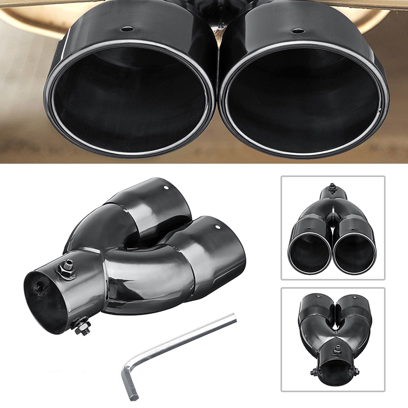 Exhaust Muffler Vehicle Rear Pipe Double Outlets 63mm Straight For All Cars