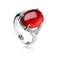 GB Red Gem Green Gem Open Ring S925 Silver Jewelry Inlaid Gem stone Chalcedony Crystal Live Open Ring Female Wholesale цена 2017