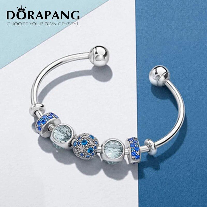 DORAPANG Original 100% 925 Sterling Silver Open Bracelet Set Blue Charm Bead For Send Woman Gift Adjustable DIY Bracelet Bangle blue original letter wide bangle